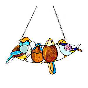 Songbirds Stained Glass Panel Plaque
