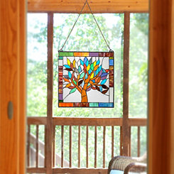 Mystical Tree Stained Glass Panel Plaque