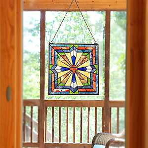 Southwest Sunburst Stained Glass Panel Plaque