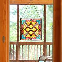 Southwest Sunset Stained Glass Panel Plaque