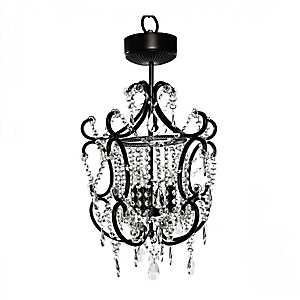 Black Cascading Crystals Cordless LED Chandelier