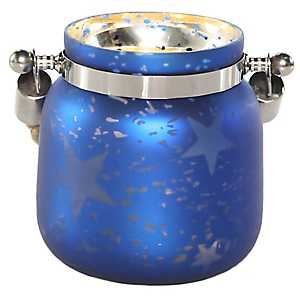 Pre-Lit Blue Star Mercury Glass Decorative Jar