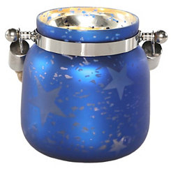 Pre-Lit Blue Star Mercury Glass Decorative Jar