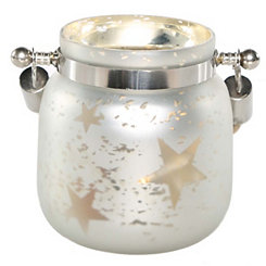 Pre-Lit White Star Mercury Glass Decorative Jar