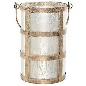 Pre-Lit Frosted Champagne Caged Mercury Glass Jar