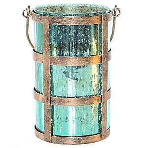 Pre-Lit Shiny Teal Caged Mercury Glass Jar