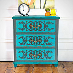 Peacock Blue 4-Drawer Cabinet