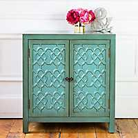 Antiqued Teal Quatrefoil 2-Door Cabinet