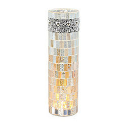 Ivory and Tan Mosaic Beaded Pre-Lit Vase