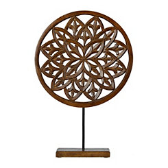 Brown Carved Wood Floral Finial