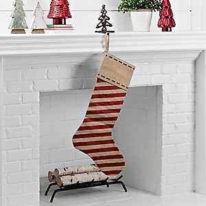 Linen with Red Stripes Stocking