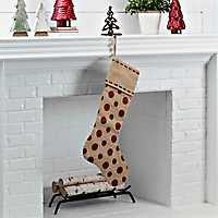 Linen with Red Polka Dots Stocking