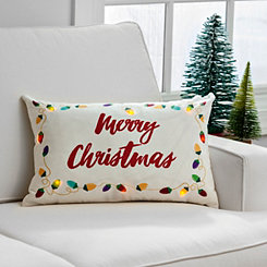 Pre-Lit Merry Christmas Lights Accent Pillow