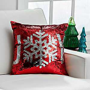 Red and Silver Reversible Sequin Joy Pillow