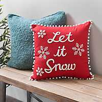 Red And White Pom Pom Let It Snow Pillow