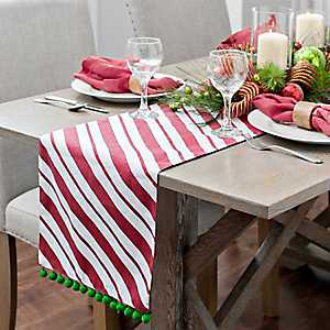 Red Candy Cane Foil with Poms Table Runner
