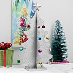 Galvanized Metal Christmas Tree With Ornaments