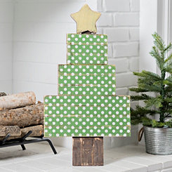 Wood Christmas Polka Dot Tree with Easel