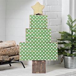 Wood Christmas Polka Dot Tree with Easel