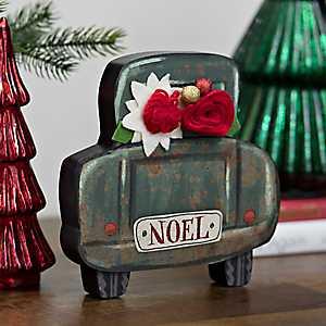 Noel Truck Block With Felt Flower