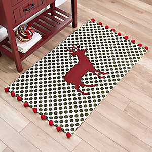 Polka Dot Deer Scatter Rug With Poms