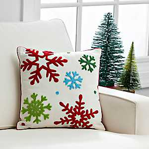 Multicolor Snowflakes Pillow