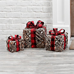 Pre-Lit Burlap Bowed Presents, Set of 3