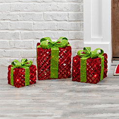 Pre-Lit Woven Bowed Gifts, Set of 3