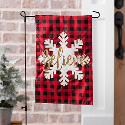 Buffalo Check Snowflake Believe Flag