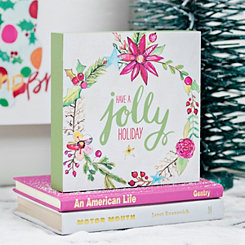 Have A Jolly Holiday Wreath Block Sign