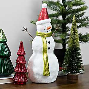 Snowman with Santa Hat and Green Scarf Figurine