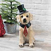Christmas Top Hat Golden Retriever Statue