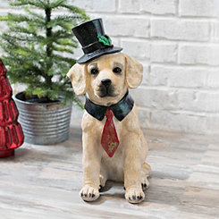 Christmas Top Hat Golden Retriever Statue