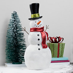 Snowman with Top Hat and Red Scarf Figurine