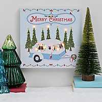 Pre-Lit Christmas Camper LED Canvas Wall Plaque