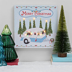 Pre-Lit Christmas Camper LED Canvas Wall Plaque