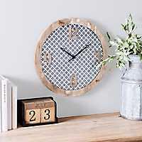 Ella Quatrefoil Wood and Metal Wall Clock