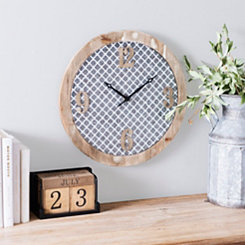 Ella Quatrefoil Wood and Metal Wall Clock