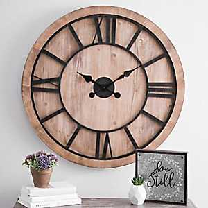 Liam Wood Carved Wall Clock