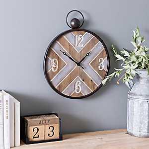 Elijah Metal and Wood Wall Clock