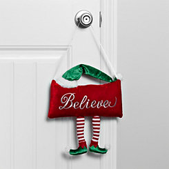 Believe with Elf Legs Christmas Door Hanger