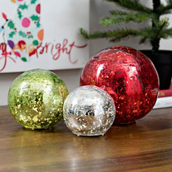Pre-Lit Crackle Red, Green, and Silver Orb Set