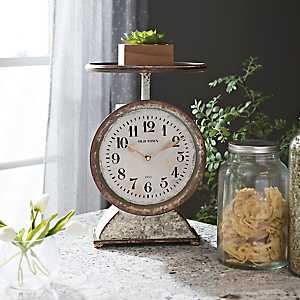 Distressed Metal Scale Tabletop Clock
