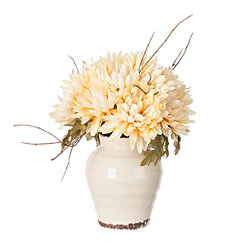 Ivory Mum Arrangement in Ceramic Planter