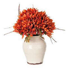 Orange Mum Arrangement in Ceramic Planter