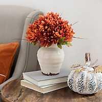 Orange Mum Arrangement in Ceramic Planter