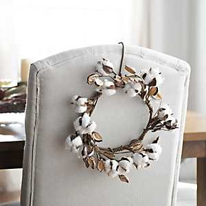 Mini Cotton Wreath, 10 in.