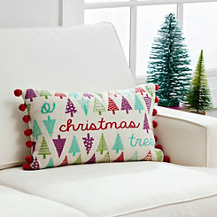 O Christmas Tree Pom Pom Accent Pillow