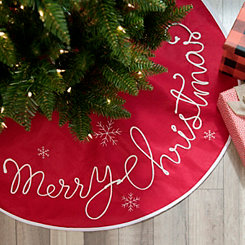 Red with White Merry Christmas Script Tree Skirt