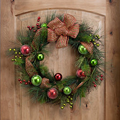 Red and Green Glitter Mesh Wreath